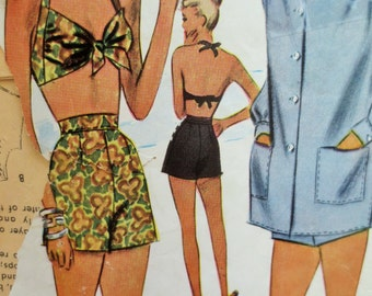 Vintage McCall 4868 Sewing Pattern, Two-Piece Swimsuit, 1940s Playsuit Pattern, 1940s Sewing Pattern, 40s Play Suit, Cover-up, Bust 32
