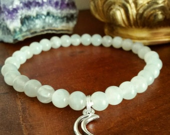 Crescent Moon Bracelet - Moonstone Bracelet with Silver Moon Charm, Mystic Bohemian Bracelet for Psychic Abilities and New Beginnings