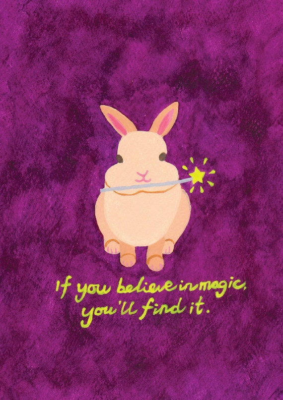 Bunny Rabbit Art Print In Purple Quote If You Believe In Magic You