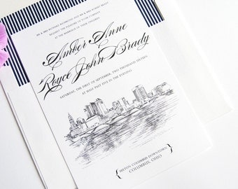 Columbus, Ohio Skyline Wedding Invitation Package (Sold in Sets of 10 Invitations, RSVP Cards + Envelopes)