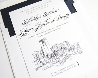 Lexington, Kentucky Skyline Wedding Invitations Package (Sold in Sets of 10 Invitations, RSVP Cards + Envelopes)