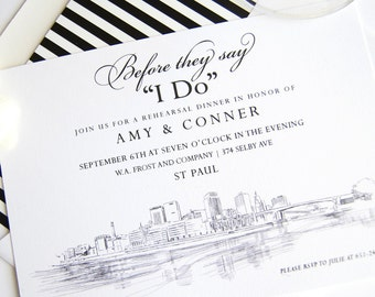 St Paul Skyline Rehearsal Dinner Invitation Cards (set of 25 cards)