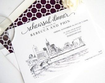 Indianapolis Skyline Rehearsal Dinner Invitations (set of 25 cards)