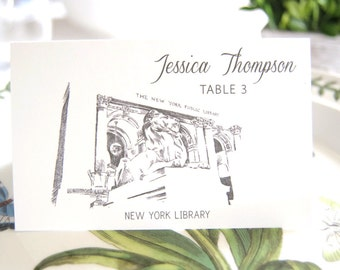 New York Library Skyline Blank Folded Place Cards (Set of 25 Cards)