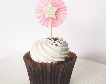 Pink and Gold Star Pinwheel Cupcake Topper
