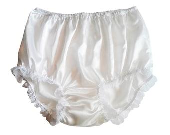 S11H2 White Handmade Panties Briefs Granny satin vintage style underwear women Lace Lingeries 2XL