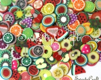 400  pcs Mix Fruit Polymer Clay Fimo Slice Nail Art Decoration UV Gel Tips with box Embellishment , Call Phone