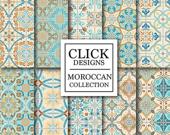 """Moroccan Digital Paper: """"RETRO MOROCCAN TILES"""" retro seamless mosaic scrapbook papers in turquoise and coral, Lisbon tiles, arabesque ethnic"""