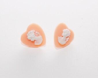 Pale Pink Heart Shaped Cameo Earrings by Jayne Kitsch Steampunk Fairy Kei Style