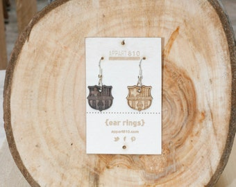 Barca. Wooden earrings are cut and laser engravings.