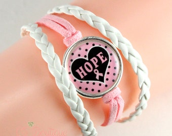 Breast Cancer Pink Ribbon White faux suede leather bracelet
