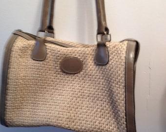 Vintage retro 2-88 John Romain Gray, taupe, straw satchel, purse handbag leather