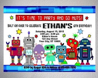 Robots Invitation, Printable Robots Birthday Party Invitation, DIGITAL OR PRINTED