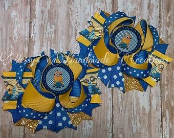 Minions inspired pigtail hair bows! Boutique hair bow!