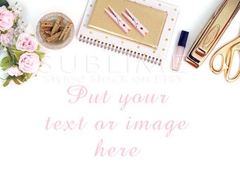 Styled Stock Photography / Styled Desktop / Gold Desktop / Gold Stapler / Styled Photography / Gold / JPEG Digital Image / StockStyle-451
