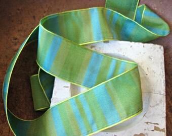 Spring Green and Aqua Stripe Ribbon