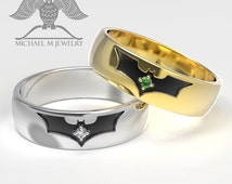Bat band .925 sterling silver ring (size 6 - 10.75) with Moissanite stones, custommade handmade ***Made to Order
