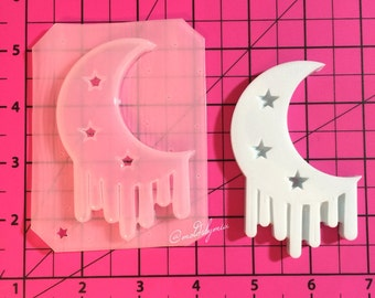 Drippy moon with stars flexible plastic resin mold
