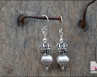 Sterling Silver Bali Bead Earrings (SER107)