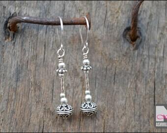 Sterling Silver Bali Bead Earrings (SER102)