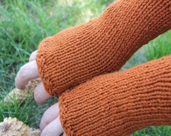 Burnt Orange Fingerless Gloves