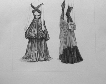 Graphite Drawing of Dresses