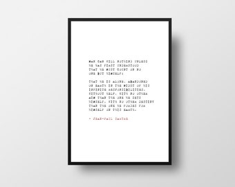 Sartre, Typewriter, Style, Quote, Philosophy, Life, Literary Quote, Writer Inspiration, Writer, Book, Literary poster, Typography Poster