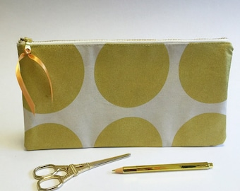 Gold pencil pouch, gold clutch, gold zip purse, extra large pouch, large gold pouches, gold spots purse, gold makeup bag, gold spots bag