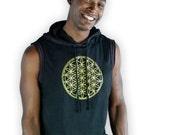 Mens sleeveless Hoodie - Sleeveless Power of Life Hoodie - Flower of Life - Yoga shirt - Men sleeveless Yoga Shirt MC4