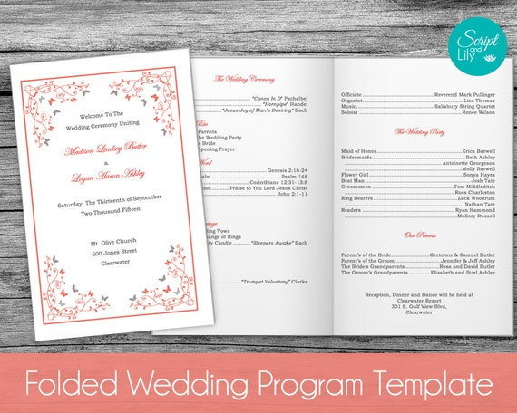 Butterfly wedding program folded and double sided by scriptandlily for Folded wedding programs