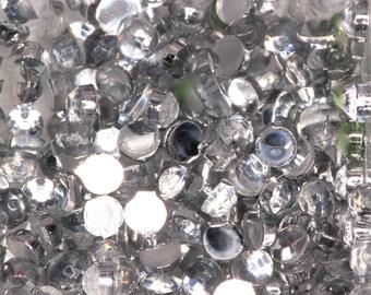 150 Clear Silver 2mm Round Rhinestone Diamonte NAIL GEMS