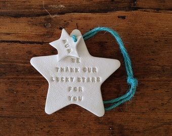 We thank our lucky stars ~ white clay star ~ personalised Mother's Day ~ new baby ~ wedding gift ~ wedding favor ~ baby shower ~ nursery