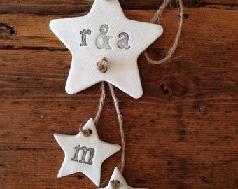 Family clay decoration ~ personalised ~ home decor ~ nursery decor ~ new baby gift or Mother's Day gift ~ clay garland