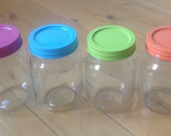 Mason Jars with coloured lids. 500ml jars with unique painted lids, a choice of 4 colours