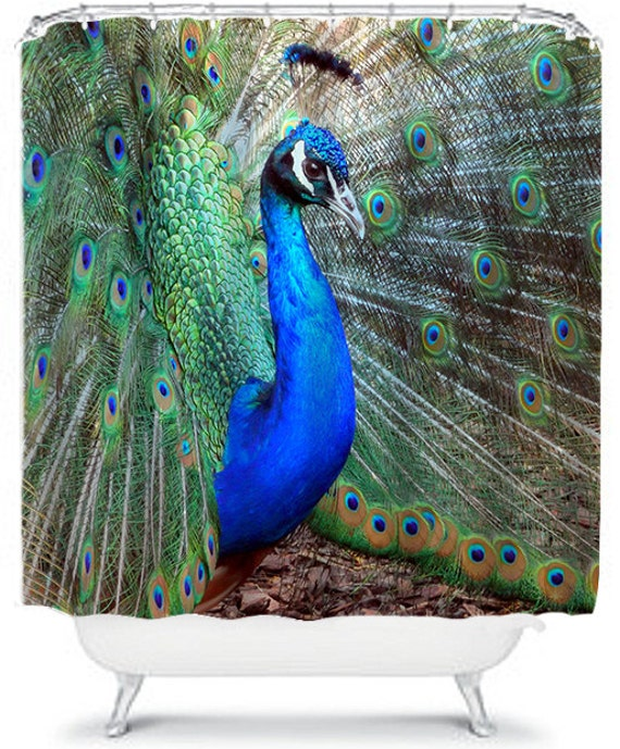 Peacock shower curtain vibrant bathroom decor by for Peacock bathroom ideas