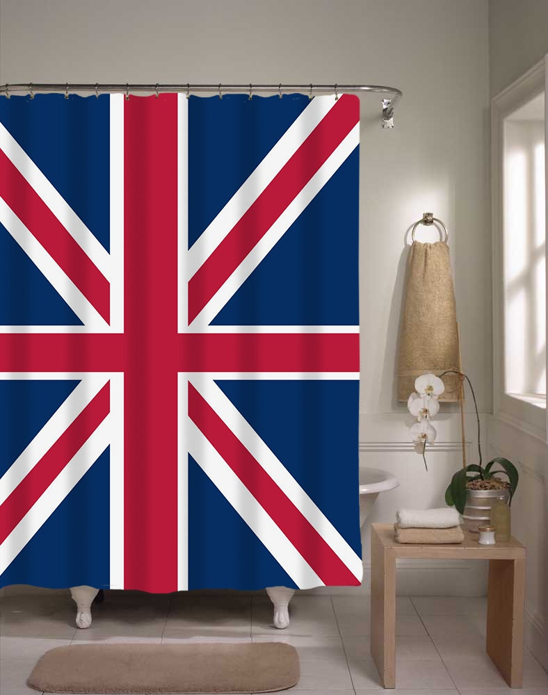 British flag shower curtain flags home decor flag by - Flag decorations for home ...