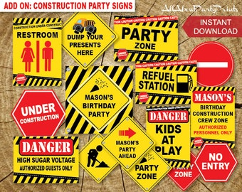 Instant Download-Construction Party Signs Printable- Party signs only.