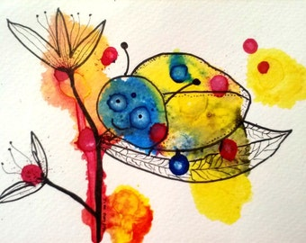 The Happy Bug, Original Ink Blot Art on Watercolor Paper, Colorful Nature