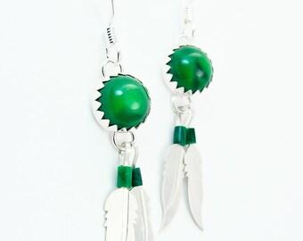 Silver Malachite Feather Dangle Earrings