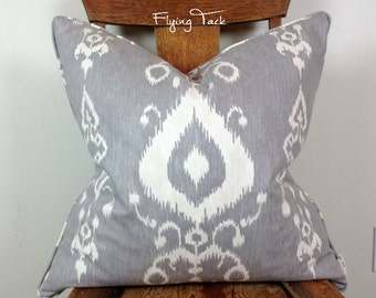 "Light Grey and White Ikat Pillow Cover-Same Fabric Both Sides-Invisible Zipper-22"" x 22"""