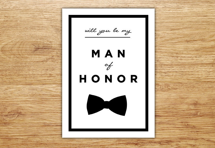 Will You Be My Man of Honor Wedding Party Card Man by ...