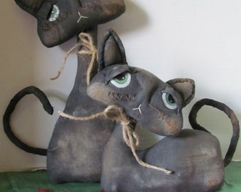 Primitive Halloween Black Cat Shelf Sitter Dolls