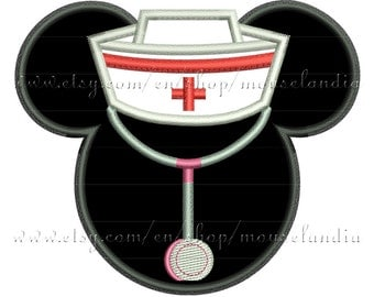 Cute mouse nurse  Applique Design   Instant Download 2sizes