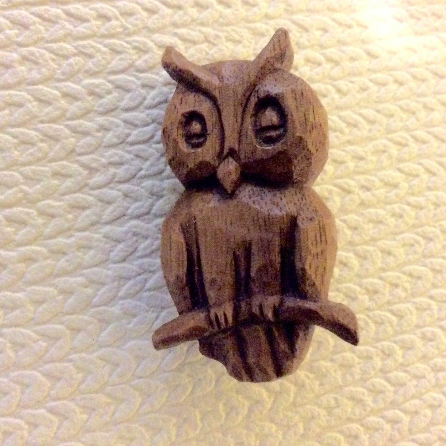 Hand Carved Owl Pin Whittled Owl Pin Wood Owl Whittled Owl