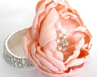 WEDDING WRIST CORSAGE- Pink Wedding Corsage, Fabric Flower Corsage, Rhinestone Bracelet, Pink Corsage, Pearl and Rhinestone Brooch