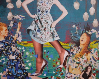 """Mixed Media Collage Art """"Let's Have a Party"""""""