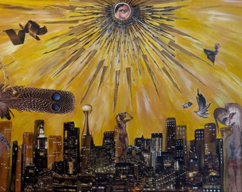 """Mixed Media Collage Art, """"The Eye of God"""""""