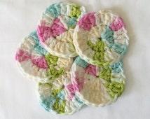 Mini Crochet Face Scrubbies, mini face cloth, makeup remover, cleansing cloth, mini face scrubby, crochet scrubby, crochet makeup remover