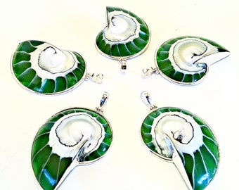 Eco friendly Emerald Green Nautilus Shell Necklace Silver Sea Shell pendant