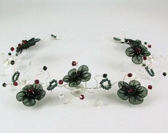 Black organza flower Goth bridal hair accessory, red crystal Steampunk hair vine, silver headband, Alternative wedding wreath, Goth wedding